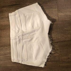 Aritzia Shorts - Aritzia Talula White Denim Shorts w/ Fray Bottom